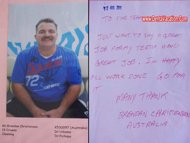 Christensen's Testimonial -Dental crowns in Phuket -Thailand