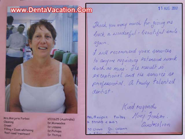 Marjorie Forbes' review of dental clinic in Patong -Thailand