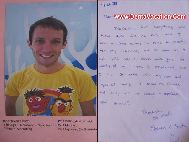 Steven Smith's Testimonial --Dental Work in Patong -Thailand