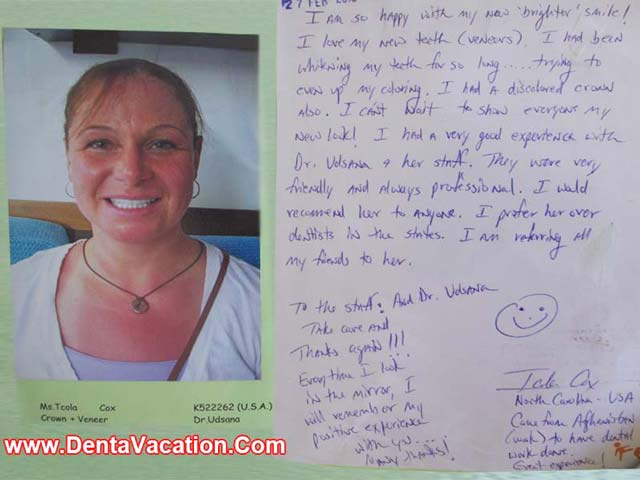 Tcola's Testimonial -Crowns and Veneers in Patong - Phuket - Thailand