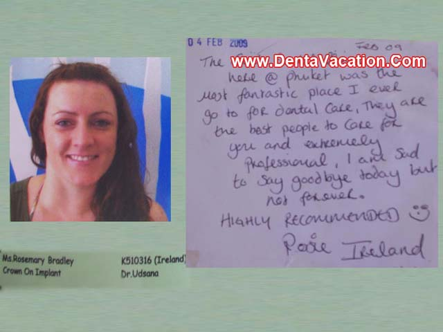 Rosemary's review - crown and dental implant in Phuket - Thailand