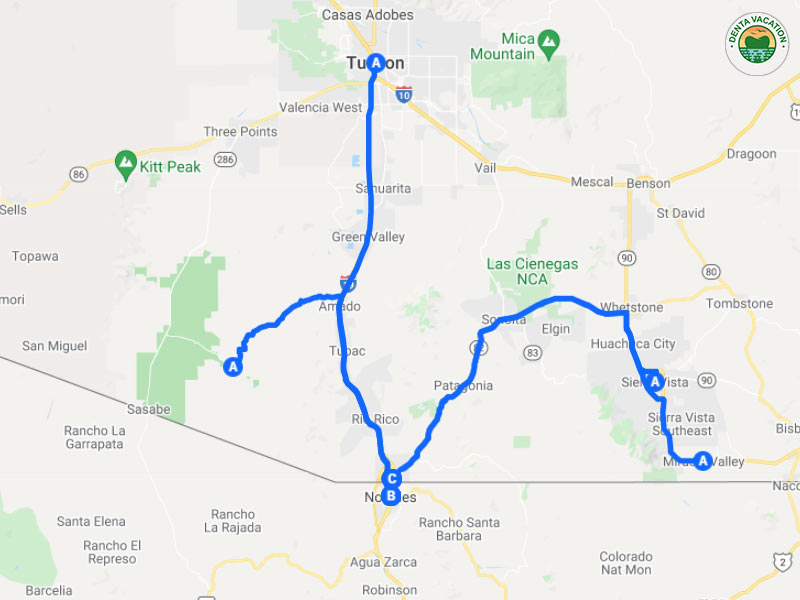 Distance to Nogales Mexico